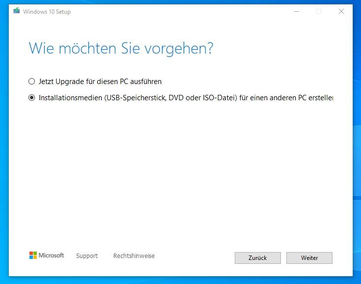 Microsoft Media Creation Tool Schritt 1