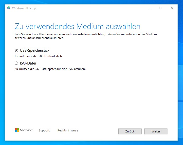 Microsoft Media Creation Tool Auswahl des Mediums