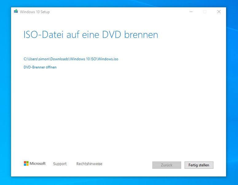Microsoft Media Creation Tool Erstellen der ISO Datei