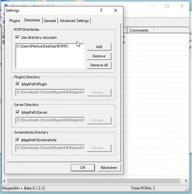 Mupen64++ Verzeichnis Einstellungen