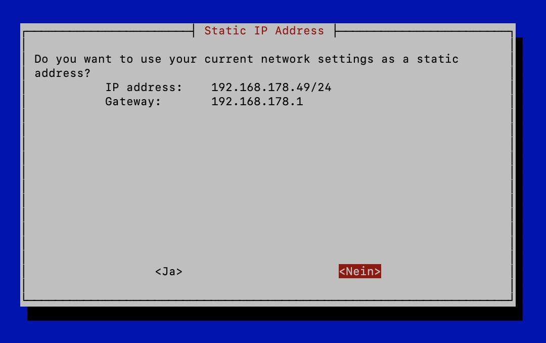 Pi-hole Netzwerkeinstellung