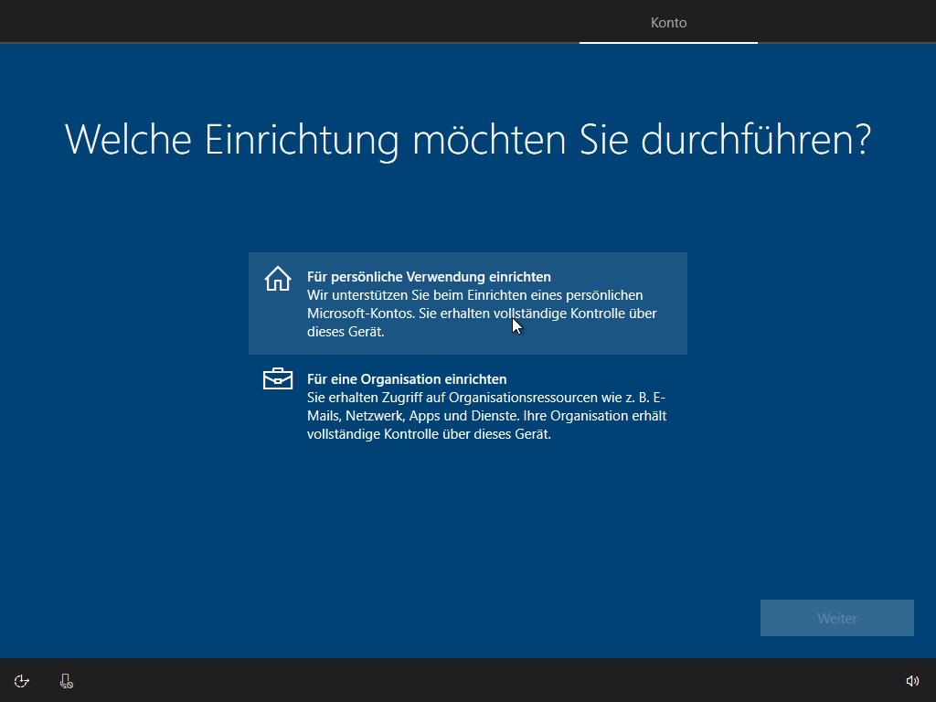 Windows Persönliche Verwendung Organisation