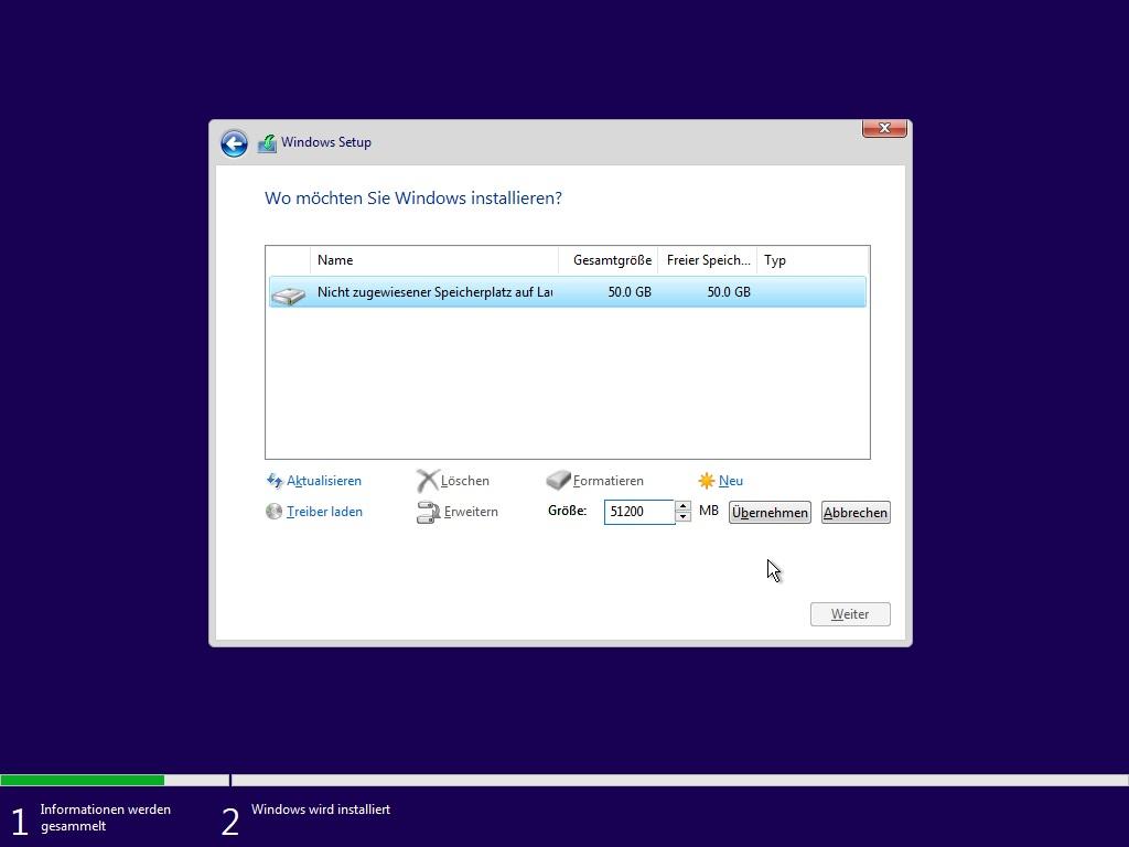 Windows Datenträgerauswahl