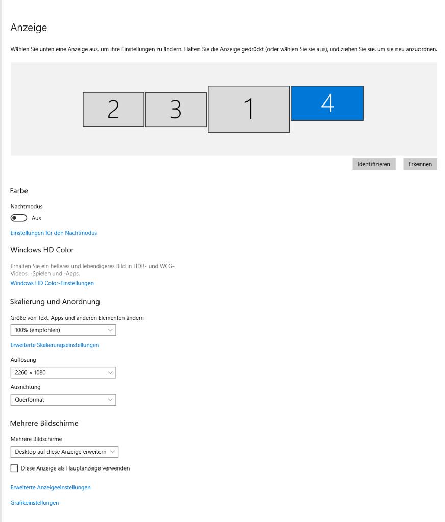 Windows Monitoreinstellungen